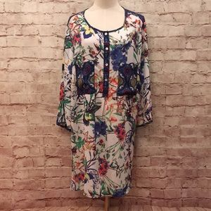 Fig and Flower Scarf Tunic Blouse 3/4 Sleeve